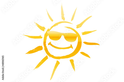canvas print picture Sonne mit Sonnenbrille