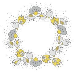 oliwkowe szare kwiaty i kropki ozdobny wieniec na białym tle