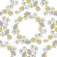 oliwkowe szare kwiaty i kropki ozdobny wieniec deseń na bieli