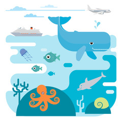 Vector flat illustration of sea and sea animals.
