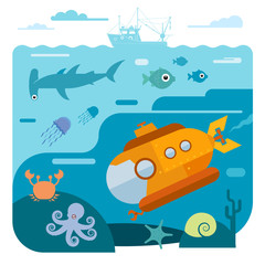 Flat vector illustration of underwater sea life
