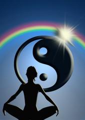 Yin y yang, meditación, arco iris, sol