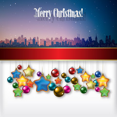 Abstract background with Christmas decorations and silhouette of
