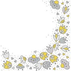 oliwkowe szare kwiaty i kropki obramowanie na bieli