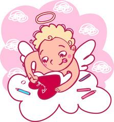 Angel makes a valentine