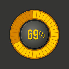 Ring Loading Progress Bar on Dark Background. Vector
