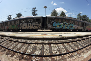 graffiti train in a fisheye view