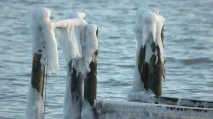 Holzpoller im winterlichen Meer