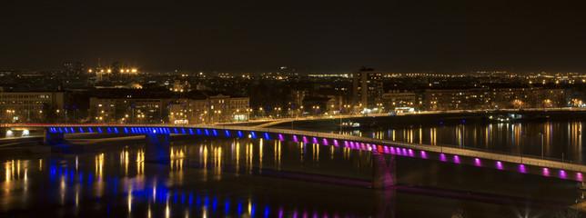 Petrovaradin Fortress above the Rainbow Bridge Novi Sad, Serbia.