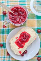 Wheat bread butter jam gooseberry