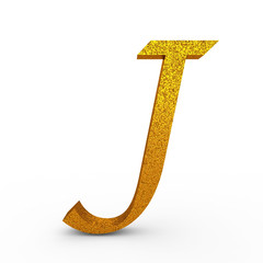 """3d """"J"""" Gold Letter with Bump - isolated"""
