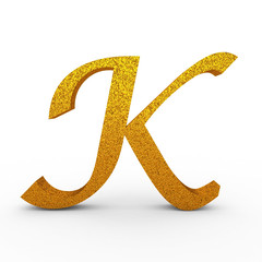 "3d ""K"" Gold Letter with Bump - isolated"