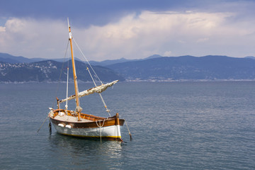 Old wooden sail ship