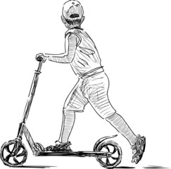 sketch of boy on scooter