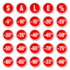 "Red Price Tags Round Set ""Sale"" Minus"