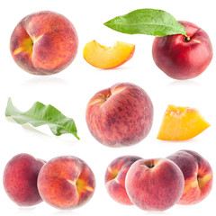 Collections of ripe peach isolated on white background