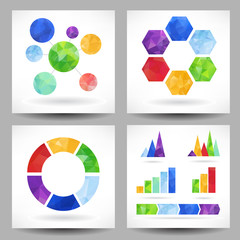 Set of charts with abstract triangles