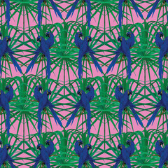 Pattern with hyacinth macaws on palm leaves. Hand drawn vector.