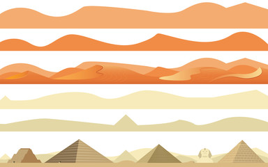 Set of Arabs and Africa Desert Landscape