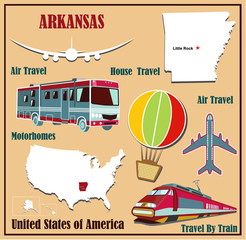 Flat map of Arkansas  for air travel by car and train