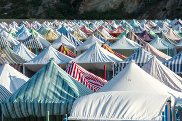 Tents on the beach, Nazarè (Portugal)