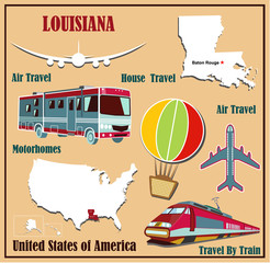 Flat map of Louisiana  for air travel by car and train