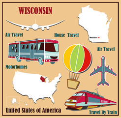 Flat map of Wisconsin  for air travel by car and train.