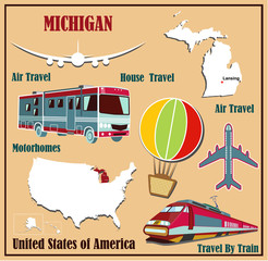 Flat map of Michigan  for air travel by car and train.