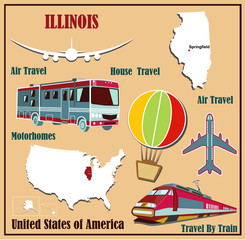 Flat map of Illinois for air travel by car and train.