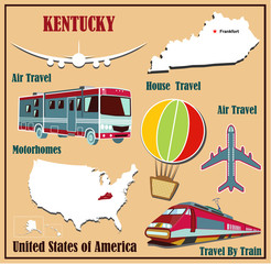 Flat map of Kentucky  for air travel by car and train.