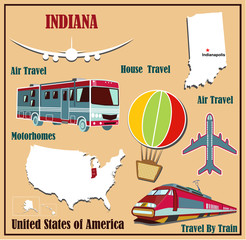 Flat map of Indiana  for air travel by car and train