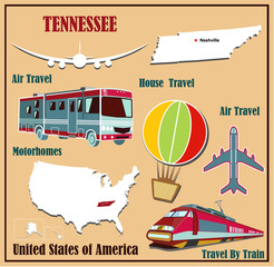 Flat map of Tennessee  for air travel by car and train.
