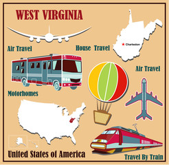 Flat map of West Virginia  for air travel by car and train