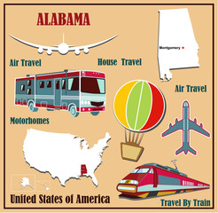 Flat map of Alabama  for air travel by car and train