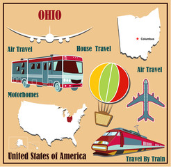 Flat map of Ohio for air travel by car and train