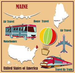 Flat map of Maine for air travel by car and train.