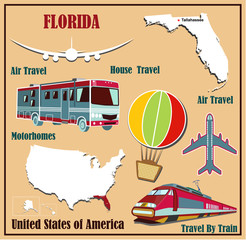 Flat map of Florida  for air travel by car and train.