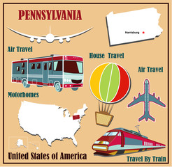 Flat map of Pennsylvania  for air travel by car and train