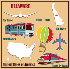 Flat map of Delaware for air travel by car and train.