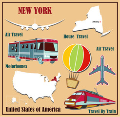 Flat map of New York for air travel by car and train.