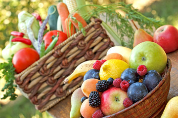 Fruit and vegetable in wicker baskets