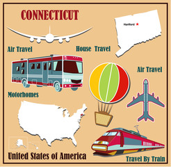 Flat map of Connecticut  for air travel by car and train