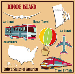 Flat map of Rhode Island  for air travel by car and train.