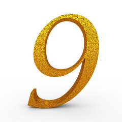 """3d """"9"""" Gold Number with Bump - isolated"""