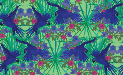 Seamless pattern with hyacinth macaws. Hand drawn vector.