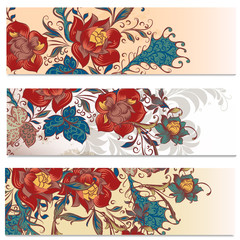 Backgrounds set in floral style