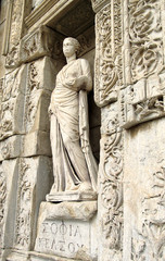 Sculpture in Library of Celsus in Ephesus
