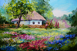 Fototapeta oil painting - house in the village