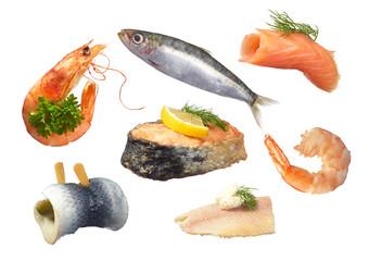 Fischsortiment freigestellt