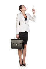Business woman showing a copyspace